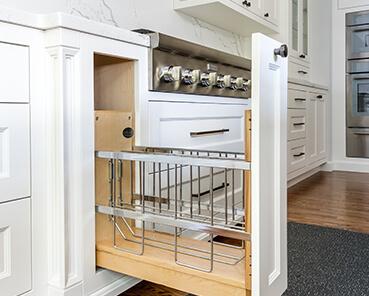 a custom slide out kitchen drawer